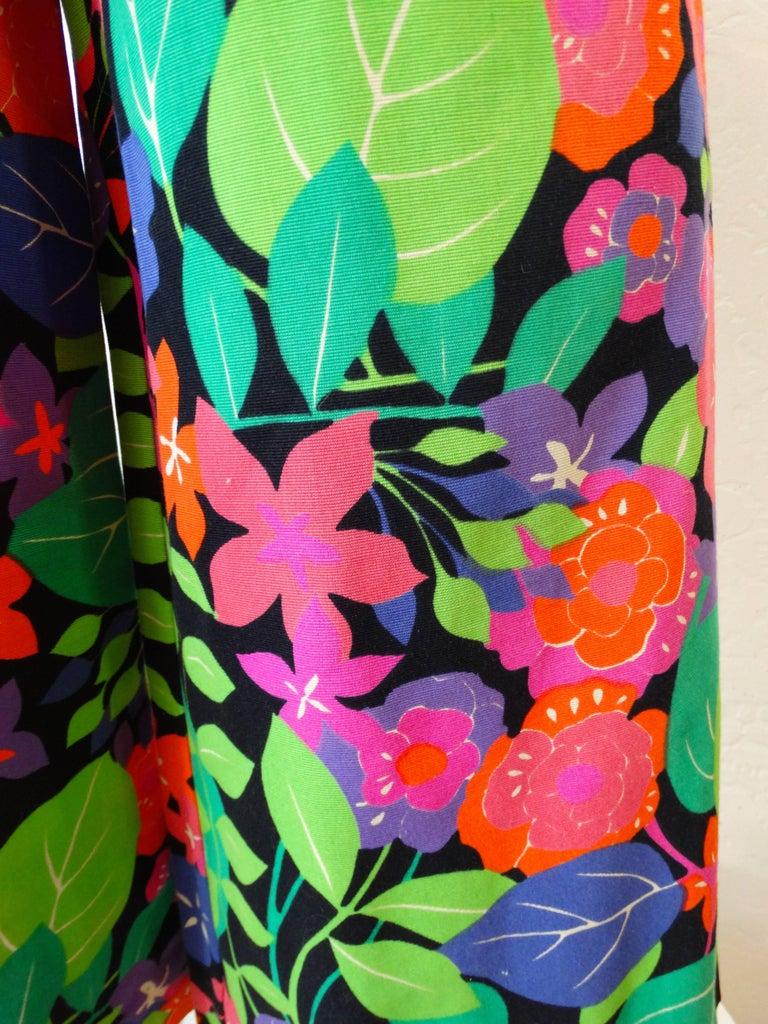 Black 1960s Technicolor Floral Wide Leg Jumpsuit  For Sale