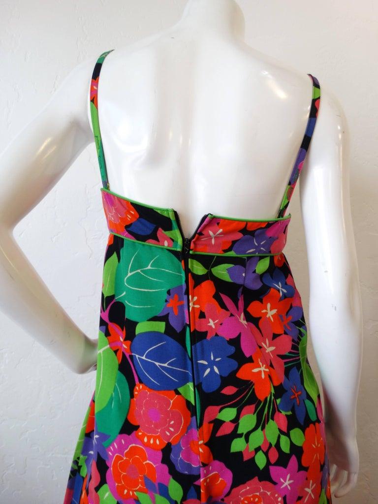 1960s Technicolor Floral Wide Leg Jumpsuit  For Sale 1