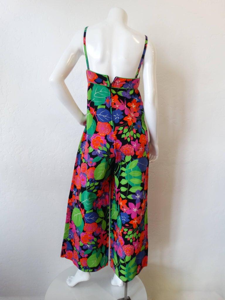 1960s Technicolor Floral Wide Leg Jumpsuit  For Sale 2