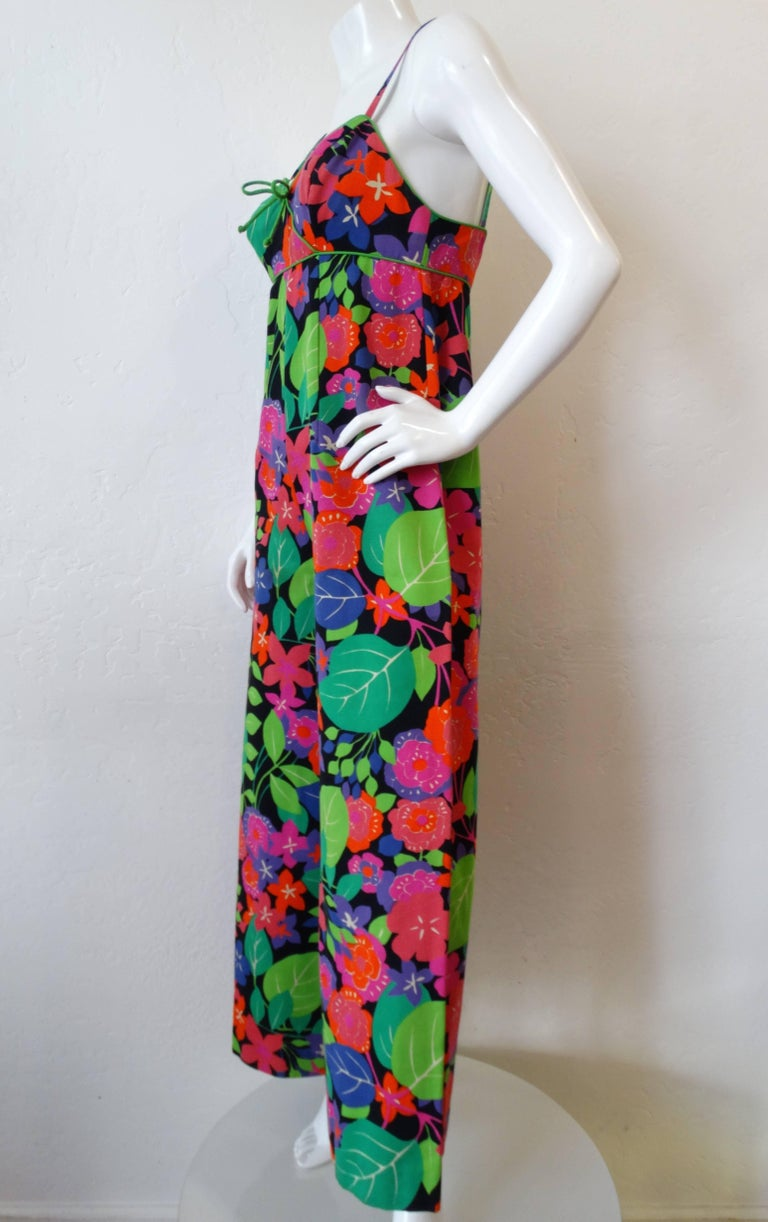 1960s Technicolor Floral Wide Leg Jumpsuit  For Sale 3