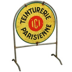 "1960s Teinturerie Parisienne or ""Parisian Dry Cleaners"" Sign from France"