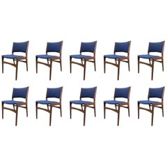 1960s Ten Refinished Erik Buch Dining Chairs in Solid Teak, Inc. Re-Upholstery