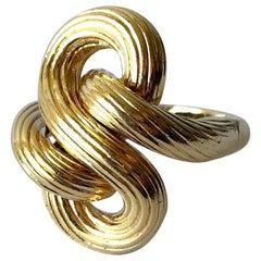 1960s Textured 14 Karat Gold Love Knot Cocktail Ring