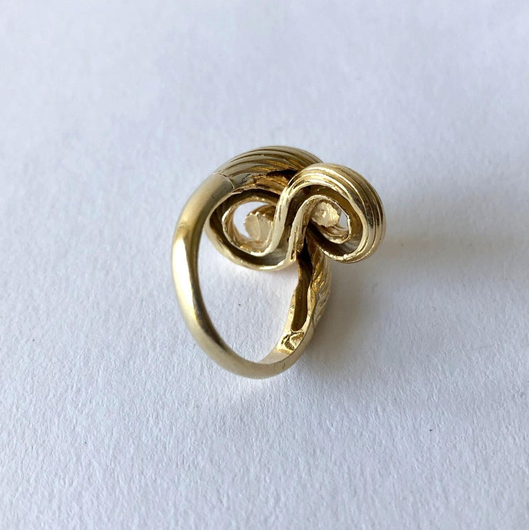 Women's 1960s Textured 14 Karat Gold Love Knot Cocktail Ring For Sale