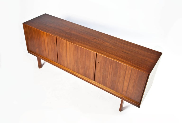 1960s Thin Edge Three Door Walnut Credenza, Mid Century Danish For Sale 6
