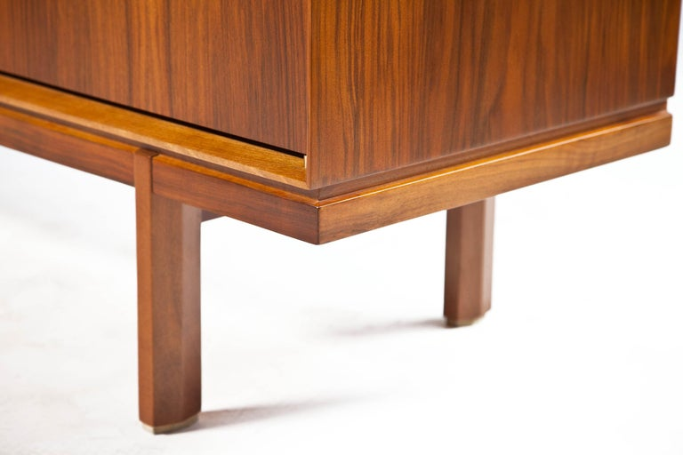 1960s Thin Edge Three Door Walnut Credenza, Mid Century Danish For Sale 7