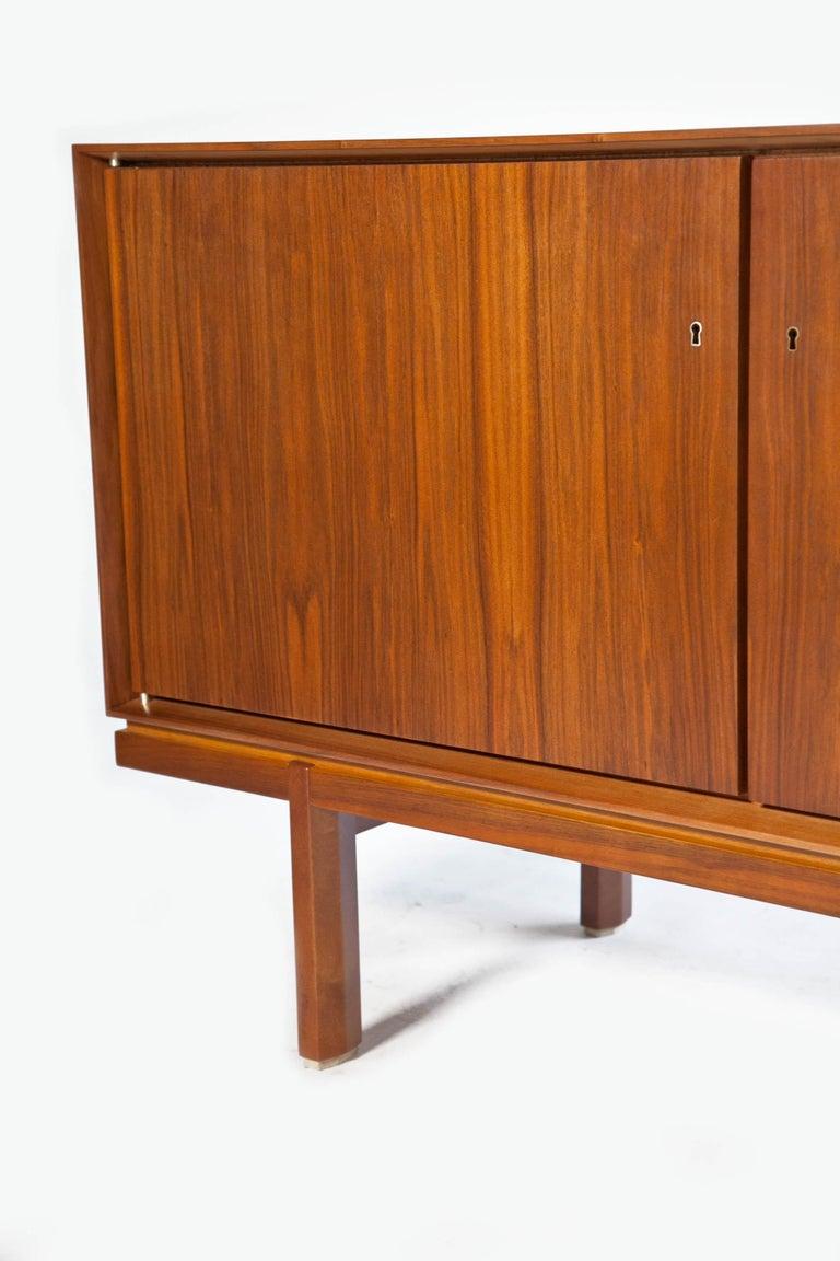 1960s Thin Edge Three Door Walnut Credenza, Mid Century Danish For Sale 9