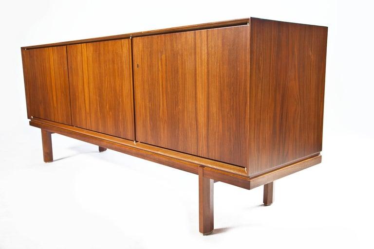 1960s Thin Edge Three Door Walnut Credenza, Mid Century Danish For Sale 10