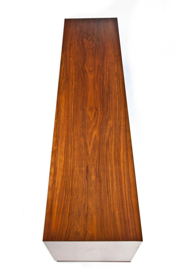 1960s Thin Edge Three Door Walnut Credenza, Mid Century Danish For Sale 11