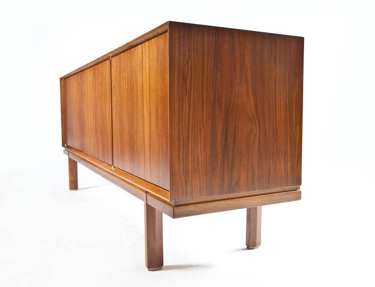 1960s Thin Edge Three Door Walnut Credenza, Mid Century Danish For Sale 12