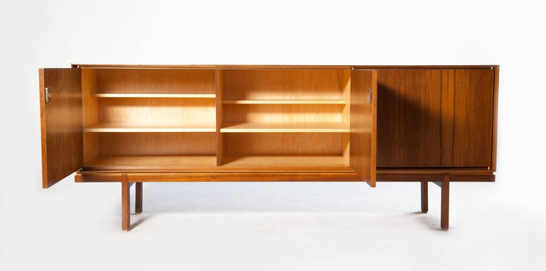 1960s Thin Edge Three Door Walnut Credenza, Mid Century Danish In Good Condition For Sale In Los Angeles, CA