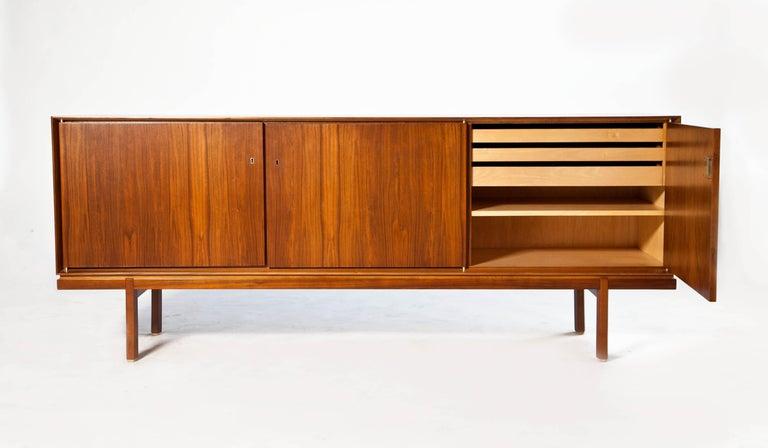 20th Century 1960s Thin Edge Three Door Walnut Credenza, Mid Century Danish For Sale