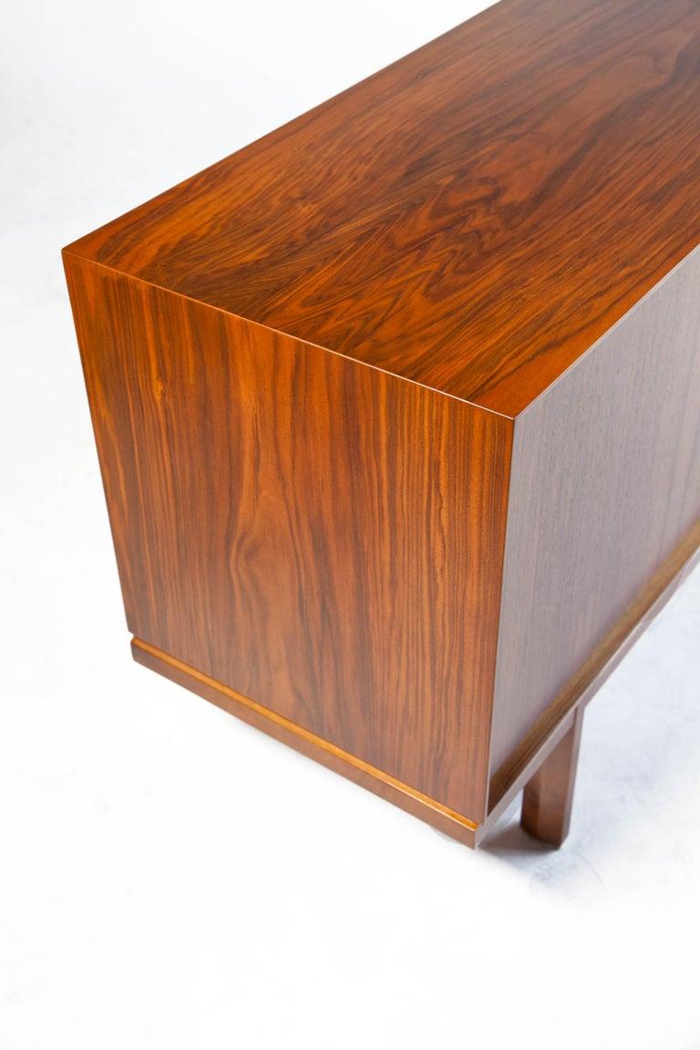1960s Thin Edge Three Door Walnut Credenza, Mid Century Danish For Sale 1
