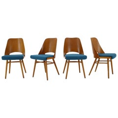 1960s Thon/Thonet Oak Dining Chairs, Set of 4