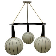1960s Three-Globe Pendant Light Fixture
