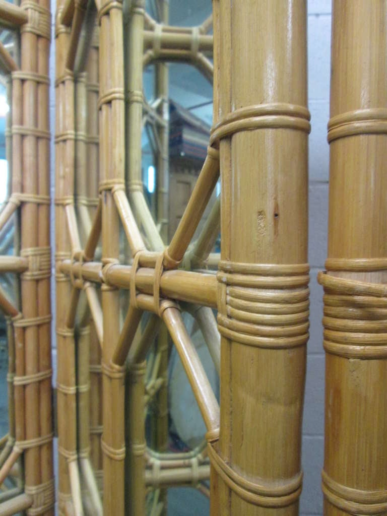 American 1960s Three-Panel Rattan and Mirror Floor Screen Room Divider For Sale