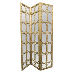 1960s Three-Panel Rattan and Mirror Floor Screen Room Divider