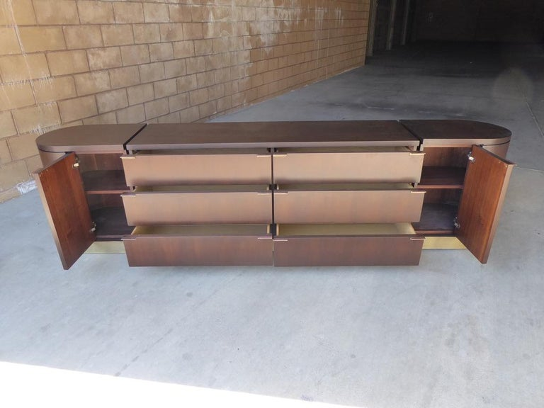 Mahogany 1960s Three-Part Credenza by Milo Baughman for Glenn of California For Sale