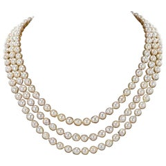 1960s Three-Strand Baroque Cultured Pearl Necklace