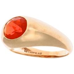 1960s Tiffany & Co. Fire Opal Gypsy 14 Karat Gold Ring