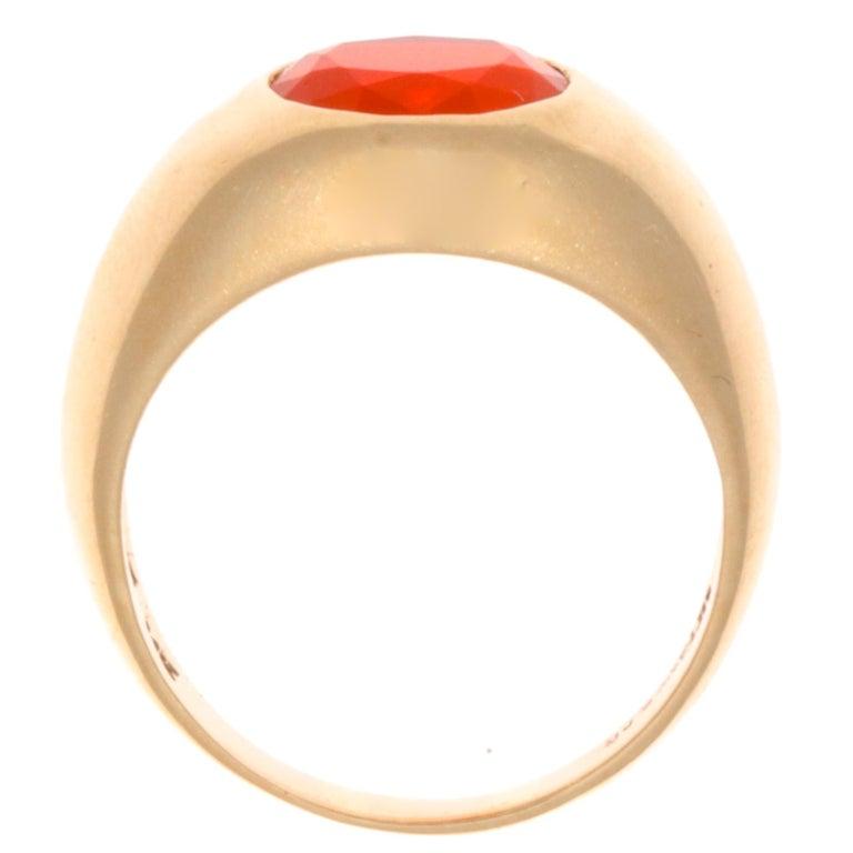 Cushion Cut 1960s Tiffany & Co. Fire Opal Gypsy 14 Karat Gold Ring For Sale