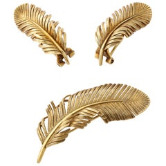 1960s Tiffany & Co. Gold Feather Ear Clips and Brooch