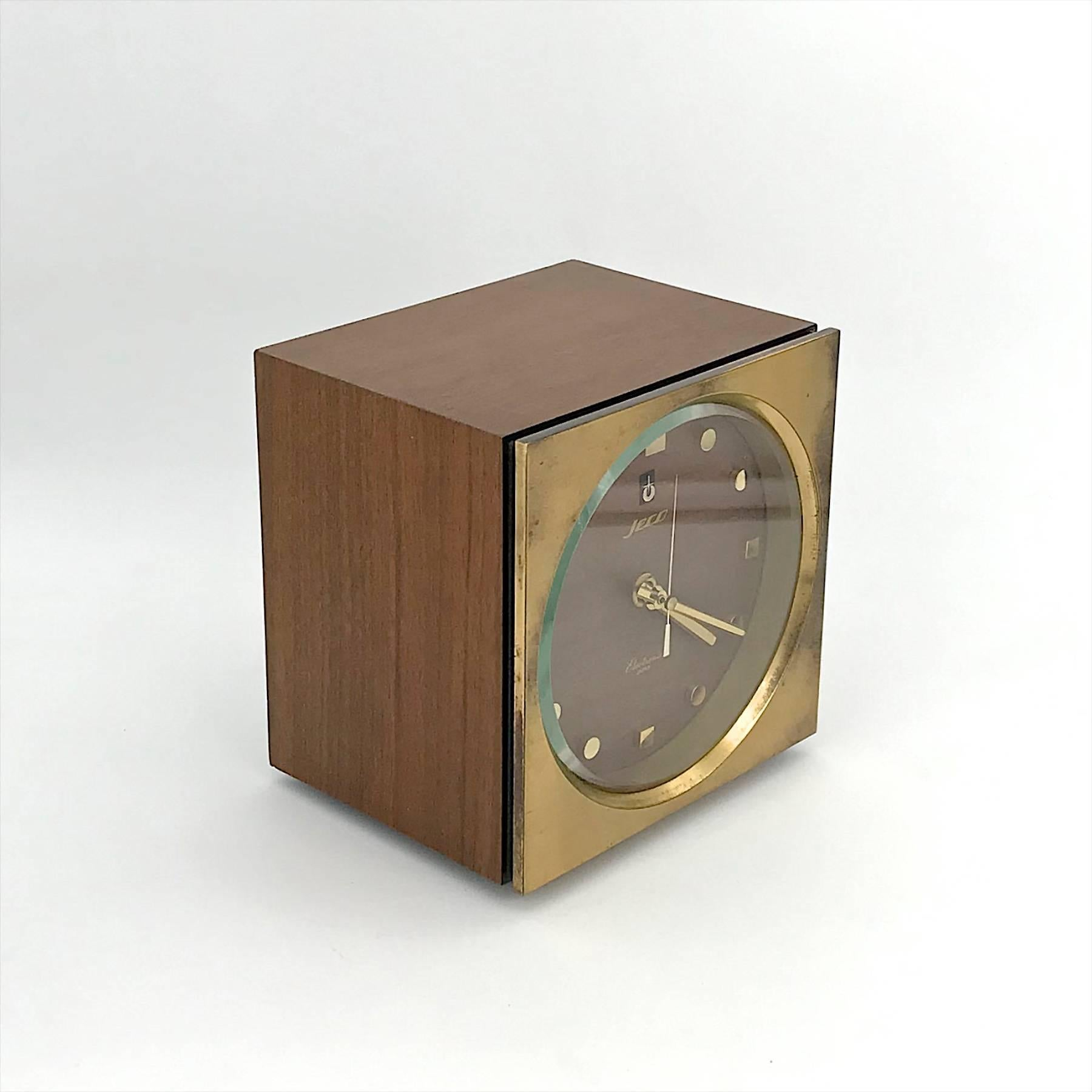 Mid Century Modern 1960s Tiger Tenaka Japanese Table Clock In Walnut Glass  And Brass For