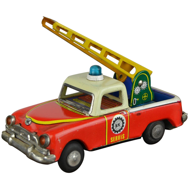 1960s Tin Toy Servis Pick Up truck with ladder by Nekur,  Ne-Kur , Turkey