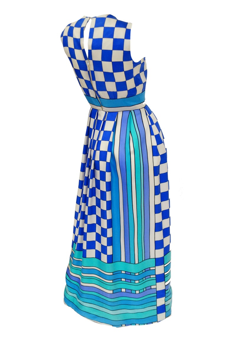 1960s Tina Leser Blue Checkerboard Print Dress With