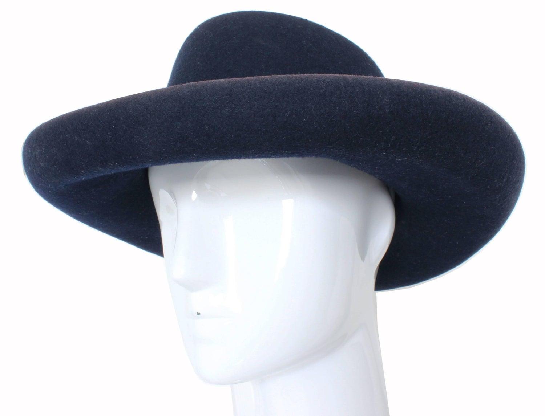 66d09253e 1960s Tina Too Bollman Hat Navy Wool Doeskin Felt Wide Brim Vintage US 7  22in