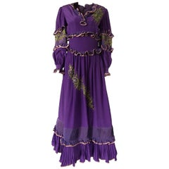 1960s Tiziani Couture by Karl Lagerfeld Hand Beaded Purple Silk Dress
