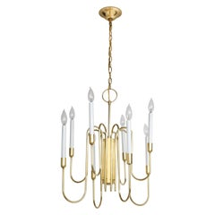 1960s Tommi Parzinger Style Brass Chandelier by Lightolier