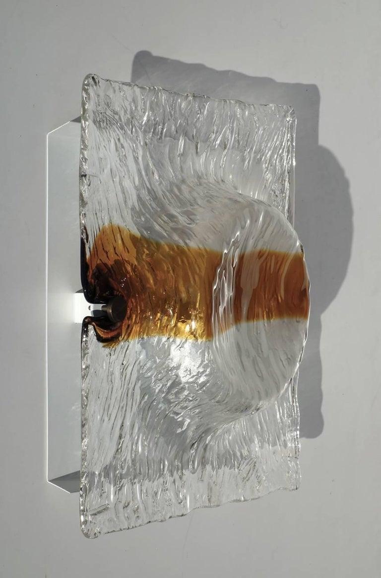 Mid-Century Modern 1960s Toni Zuccheri by Venini Murano Glass Sconces Wall Lamps For Sale