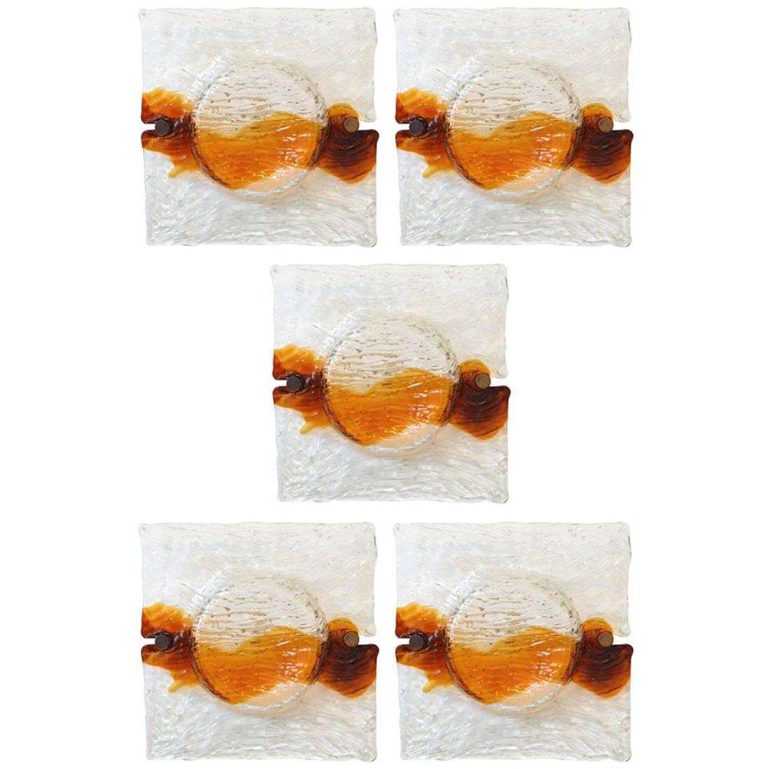 1960s Toni Zuccheri by Venini Murano Glass Sconces Wall Lamps