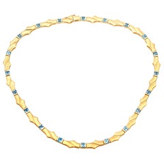 1960s Topaz and Yellow Gold Necklace