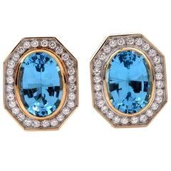 1980s Topaz Diamond Oval 18 Karat Gold Stud Clip-On Earrings