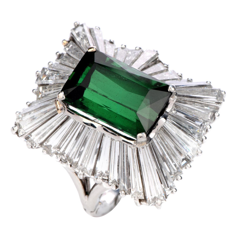 1960's Tourmaline Diamond Ballerina Platinum Cocktail Ring