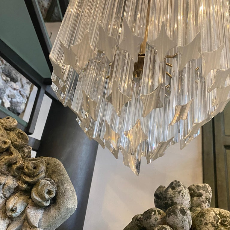 1960s Transparent Prisms Murano Glass Chandelier by Venini For Sale 2