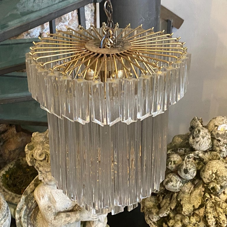 Mid-Century Modern 1960s Transparent Prisms Murano Glass Chandelier by Venini For Sale
