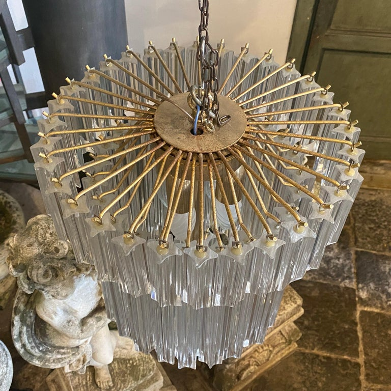 Brass 1960s Transparent Prisms Murano Glass Chandelier by Venini For Sale