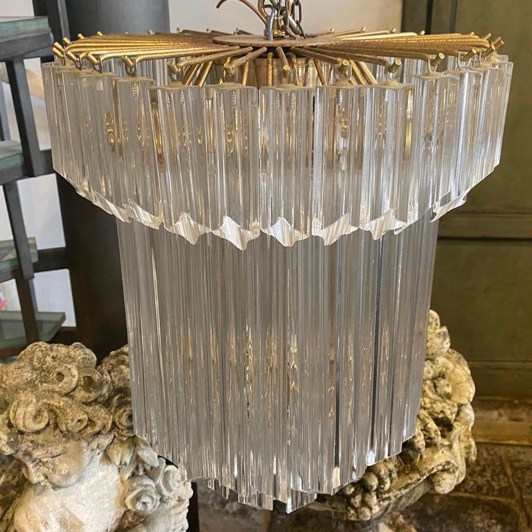 1960s Transparent Prisms Murano Glass Chandelier by Venini For Sale 1