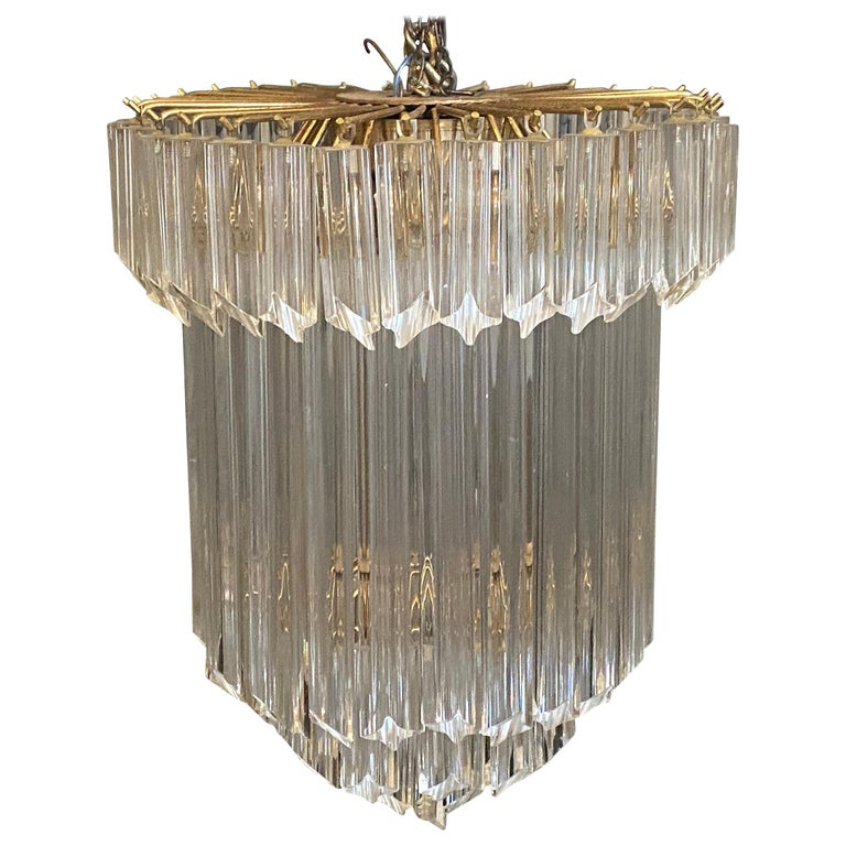 1960s Transparent Prisms Murano Glass Chandelier by Venini For Sale