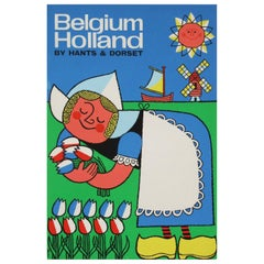 1960s Travel Poster for Belgium and Holland by Harry Stevens Pop Art