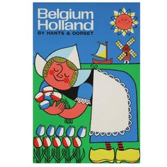 1960s Travel Poster for Belgium & Holland by Harry Stevens Pop Art