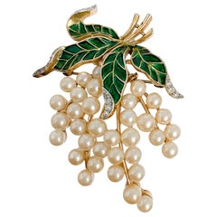 1960s Trifari Pearl and Enamel Grape Brooch