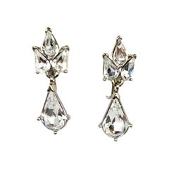 1960s Trifari Rhinestone Drop Earrings