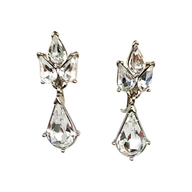 1960s Trifari Rhinestone Drop Earrings For Sale