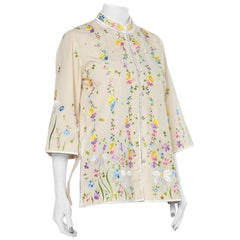 1960S Pastel Poly/Cotton Floral Embroidered Asian-Inspired Jacket Top