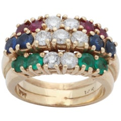 1960s Triple Row Emerald, Sapphire Ruby and Diamond Gold Prong Set Band Ring