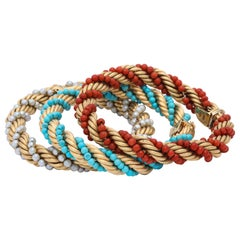1960s Triple Stack Coral, Turquoise and Pearl Twisted Gold Rope Design Bracelets